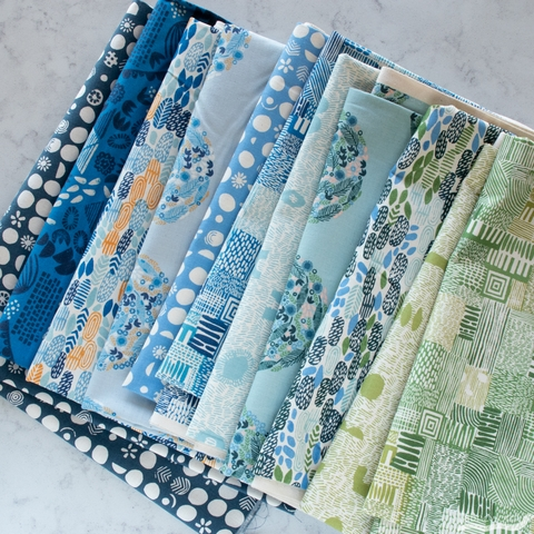 Jeanne McGee for Cotton + Steel, Homestead, Germination River Blue