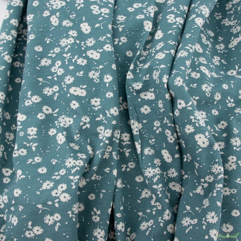 Jenny Ronen for Birch Organic Fabrics, Flora Jersey Knit, Tiny Flora Smoke Blue