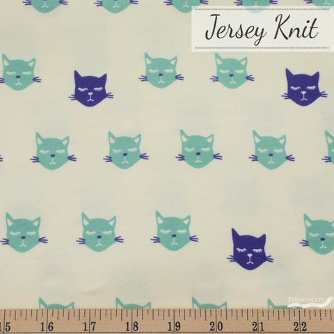 Jessica Swift for Art Gallery, Oh Meow Jersey Knit, Cat Nap Blue