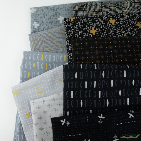 Karen Lewis for Robert Kaufman, Wayside, Stitches Black