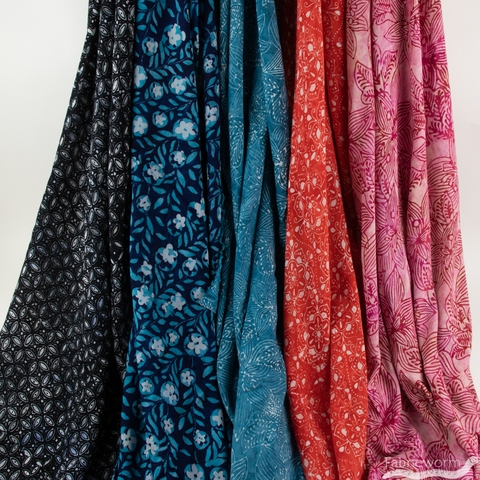 Kate Spain for Moda, Calypso Batik, RAYON,  Flower Vines Dark Blue