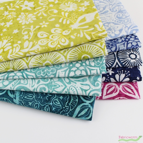 Kate Spain for Moda, Longitude Batiks, Floral Tile Turquoise