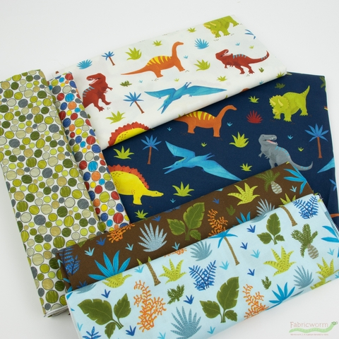 Katherine Lenius for Robert Kaufman, Prehistoric Adventure in FAT QUARTERS 6 Total