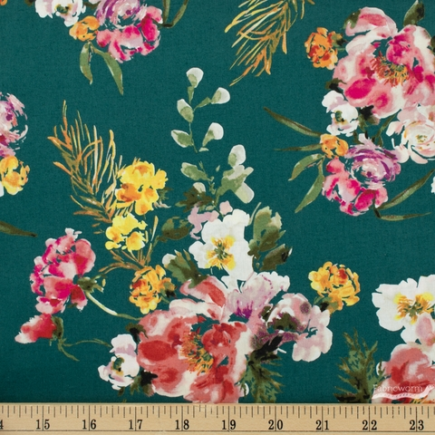 Kelly Ventura for Windham, Wildflower, Coral Charm Teal