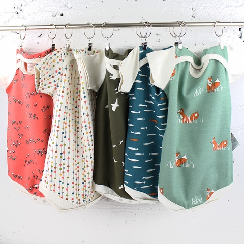 Kinder Birch, Organic Cotton Apparel, Blue School Bodysuit