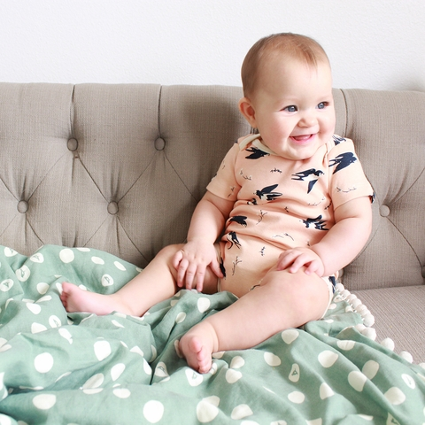 Kinder Birch, Organic Cotton Apparel, Happy Swallow Onesie