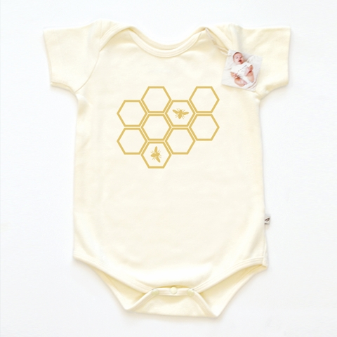 Kinder Birch, Organic Cotton Apparel, Hive Onesie