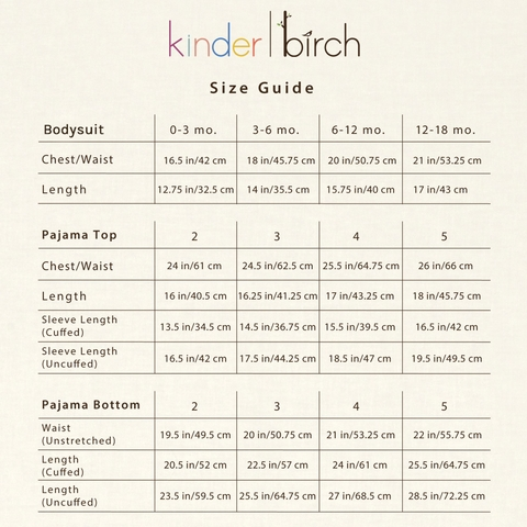 Kinder Birch, Organic Cotton Apparel, Hoshi Cream Black Grow With Me Pajama