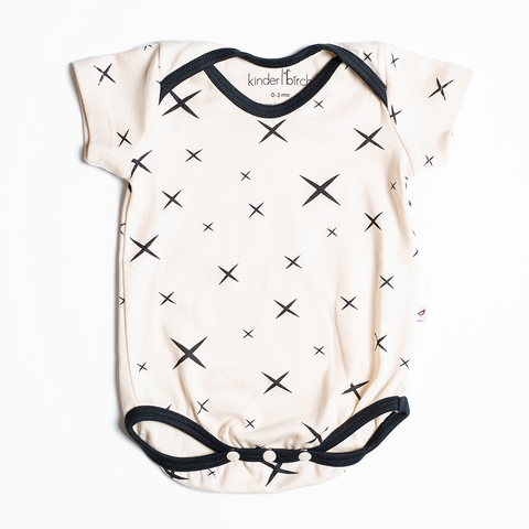 Kinder Birch, Organic Cotton Apparel, Hoshi Cream Black Short Bodysuit
