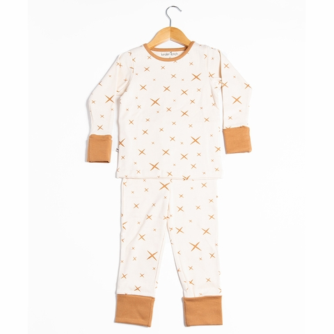 Kinder Birch, Organic Cotton Apparel, Hoshi Cream Fawn Grow With Me Pajama