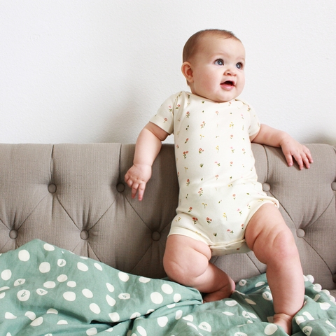 Kinder Birch, Organic Cotton Apparel, Morning Bloom Onesie