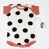Kinder Birch, Organic Cotton Apparel, Pop Dots Black/ Coral Onesie
