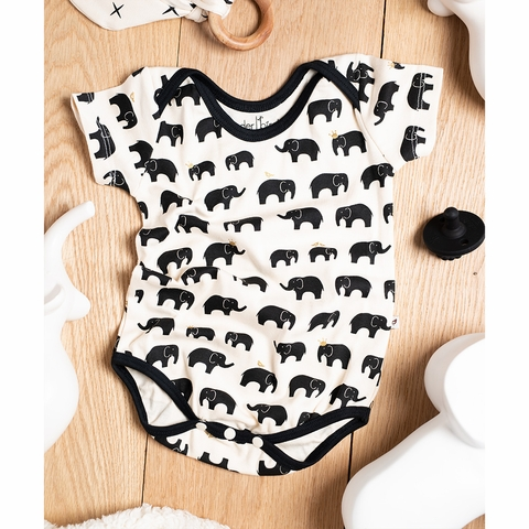 Kinder Birch, Organic Cotton Apparel, Zo Famu Black Metallic Short Bodysuit