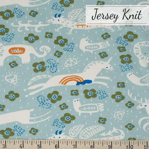 Kristen Balouch for Birch Organic Fabrics, Enchanted Kingdom, JERSEY KNIT, Key to the Kingdom Mineral