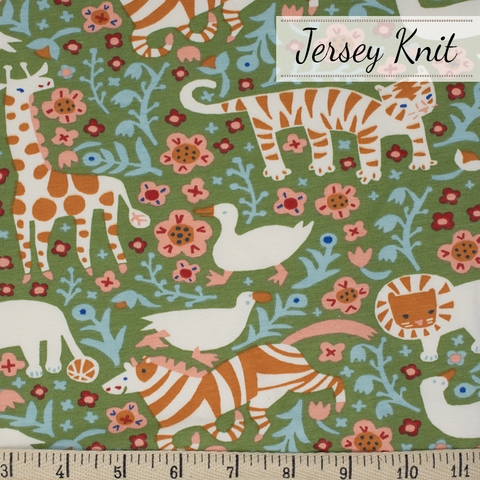 Kristen Balouch for Birch Organic Fabrics, Enchanted Kingdom, JERSEY KNIT, Menagerie Moss