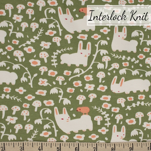 Kristen Balouch for Birch Organic Fabrics, Enchanted Kingdom, KNIT, Bunny Meadow Moss