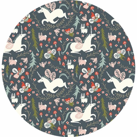 Kristen Balouch for Birch Organic Fabrics, Folkland, KNIT, Enchanted Unicorns Dusk