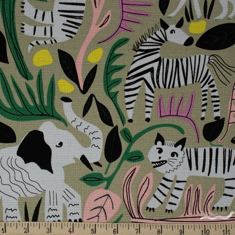 Leah Duncan for Cloud 9, Wild, BARKCLOTH, Jungle Forest