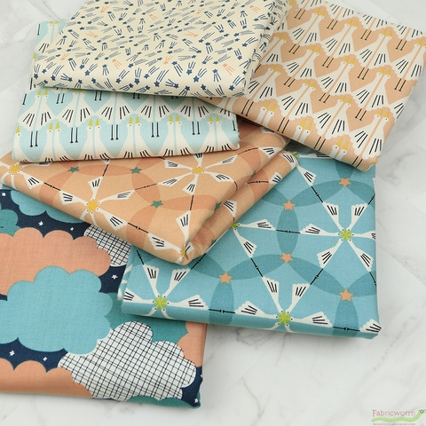 Lemonni for FIGO, Special Delivery, Morning Meeting in FAT QUARTERS 6 Total (PRECUT)