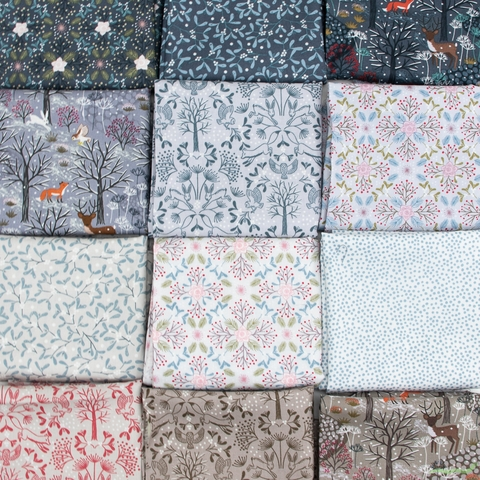 Lewis & Irene, Winter in Bluebell Wood in FAT QUARTERS 12 Total