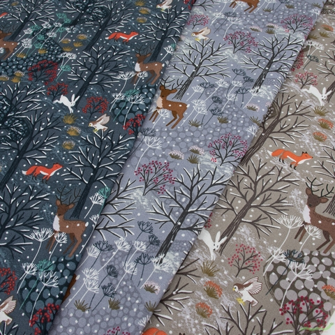 Lewis & Irene, Winter in Bluebell Wood in HALF YARDS 12 Total