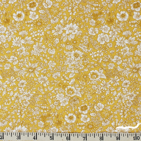 Liberty London Fabrics, The English Garden, Emily Silhouette Yellow