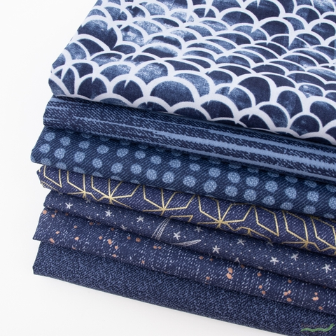 Libs Elliot for Andover, Almost Blue, Indigo in FAT QUARTERS 7 Total