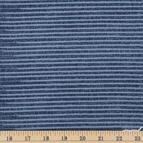Libs Elliot for Andover, Almost Blue, Stripe Rinsed Fat Quarter