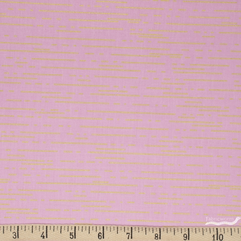 Libs Elliot for Andover, Greatest Hits Vol 1 Metallic, Dashes Pink Fat Quarter