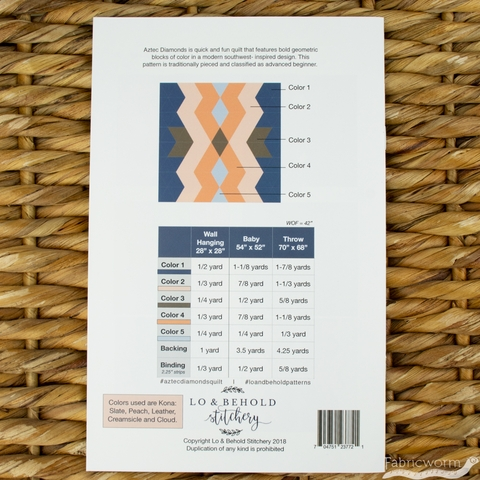 Lo & Behold Stitchery, Sewing Patterns, Aztec Diamonds Quilt