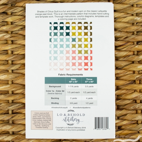 Lo & Behold Stitchery, Sewing Patterns, Shades of Citrus Quilt