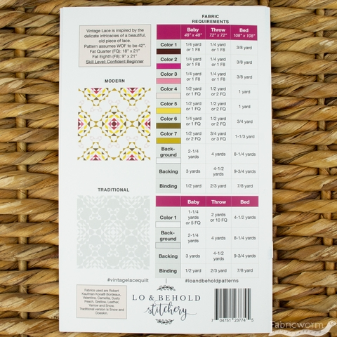 Lo & Behold Stitchery, Sewing Patterns, Vintage Lace Quilt