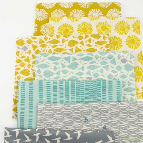 Loes van Oosten for Cotton and Steel, By The Seaside, Sunny in FAT QUARTERS 7 Total