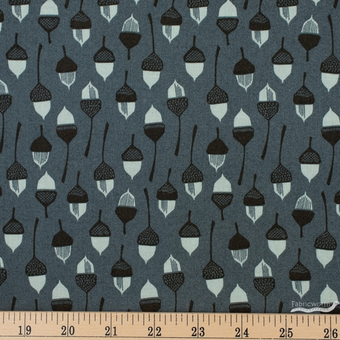 Loes Van Oosten for Cotton and Steel, In The Woods, Acorn Slate Fat Quarter