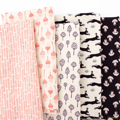 Loes Van Oosten for Cotton and Steel, In The Woods, Fresh in FAT QUARTERS 5 Total