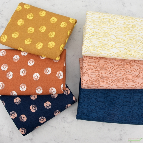 Loes Van Oosten For Cotton + Steel, Along The Fields, Circle Flower Sizzling Sunset