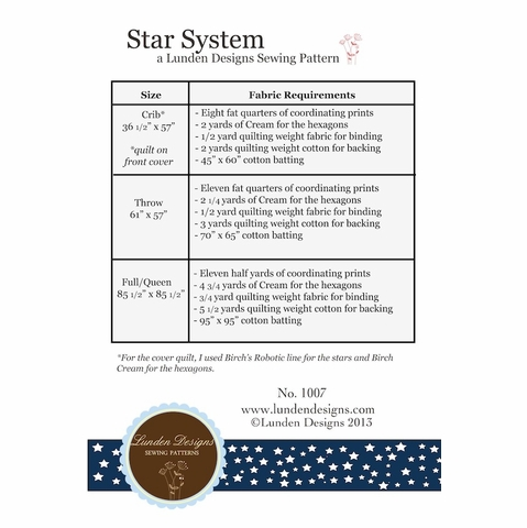 Lunden Designs, Sewing Pattern, Star System
