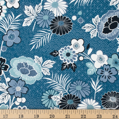 Makower UK, Indigo, Floral Montage Blue