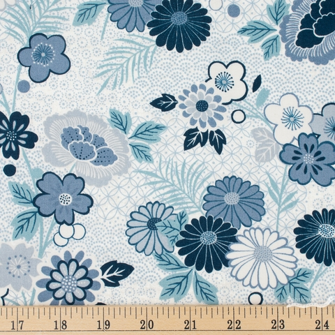 Makower UK, Indigo, Floral Montage Cream