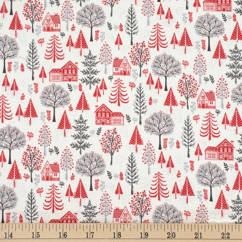 Makower UK, Scandi 2020, Trees Red