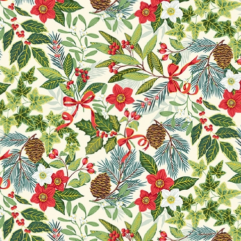 Makower UK, Yuletide, Foliage Cream
