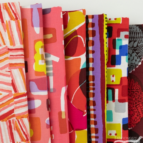 Masaru Suzuki for Cotton and Steel, Safari, Red in FAT QUARTERS 7 Total