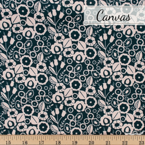 Megan Carter for Cotton and Steel, Emilia Canvas, Adele Navy