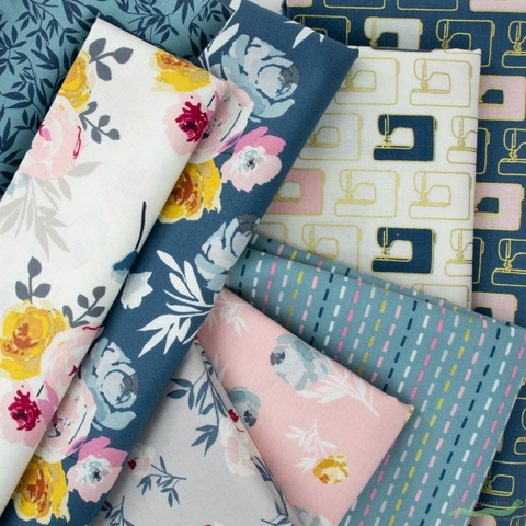 Melissa Mora for Riley Blake, Blooms and Bobbins in FAT QUARTERS 8 Total (PRECUT)