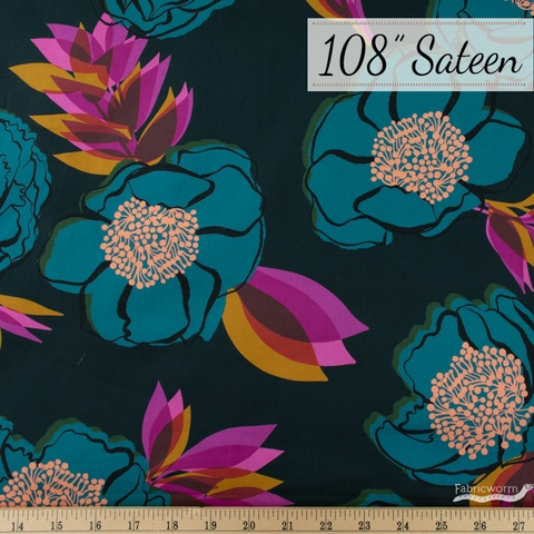 """Melody Miller for Ruby Star Society, Rise Sateen 108"""" Wide, Beam Dark Teal"""