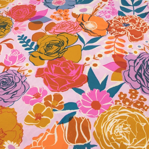 """Melody Miller for Ruby Star Society, Rise Sateen 108"""" Wide, Bloom Peony"""