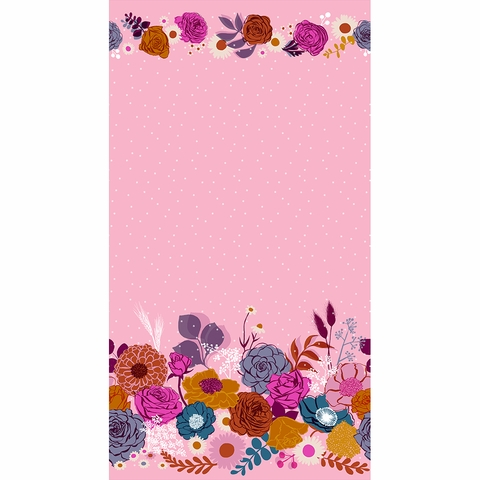 "Melody Miller for Ruby Star Society, Rise, Shine Peony Metallic Single Border (36"" Panel)"