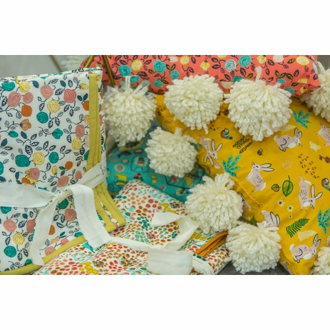 Miriam Bos for Birch Organic Fabrics, The Hidden Garden, Bunny Hop Marigold