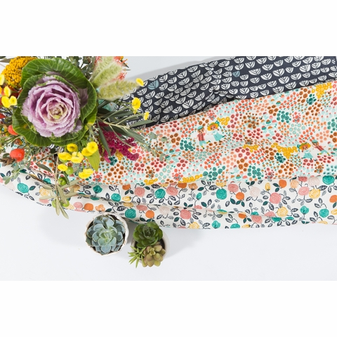 Miriam Bos for Birch Organic Fabrics, The Hidden Garden, DOUBLE GAUZE, Sproutlet Dusk