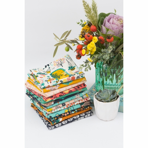 Miriam Bos for Birch Organic Fabrics, The Hidden Garden, Sproutlet Dusk